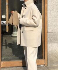 《予約販売》button hidden short coat