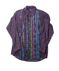 Rebuild By Needles Ribbon Flannel Shirt INDIGO ×RED - size M -