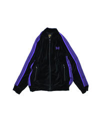 Needles:RIB COLLAR TRACK JACKET C/PE VELOUR - BLACK