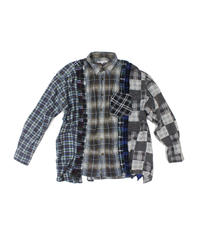 Rebuild by Needles 7 CUT Flannel Shirt BRO CHK- L size #4