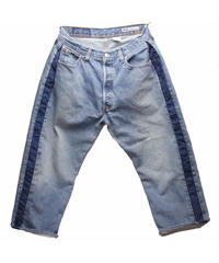 Sunny side up (サニーサイドアップ) ユーズドリメイク SIDE LINE DENIM PANTS BLUE type 1 - size 2 -