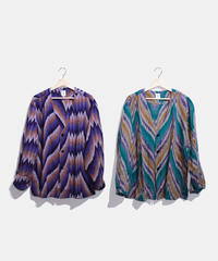 South2 West8:V NECK ARMY SHIRT - IKAT WAVE