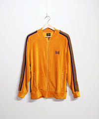 Needles:RIB COLLAR TRACK JACKET C/PE VELOUR - MUSTARD
