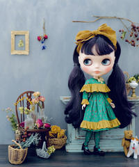 [完成品]  ハーバルドレス(緑) / Herbal dress ( Green color)