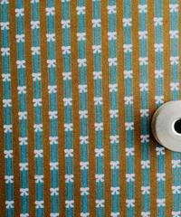[02/26 予約販売] レトロリボン青x茶 ストライプ ハノンオリジナルファブリック 20cm x 50cm