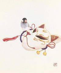 日本画 青木志子 「おめん」 色紙