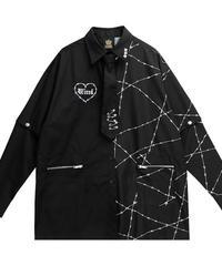 【LISTENFLAVOR】ネクタイ付有刺鉄線総柄2wayシャツ【2113518】