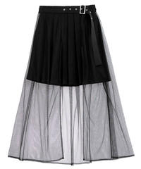 【LISTENFLAVOR】チュールレイヤードプリーツスカート【2110407】