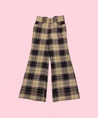 vintage check wide pants H0005