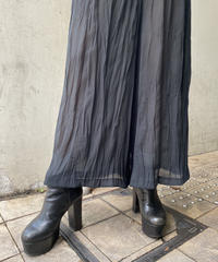 pleats see-through pants