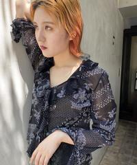 Flower see-through shirt  (flare sleeve)
