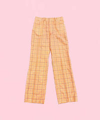 vintage check wide pants  H0009