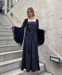 flare sleeve velours one-piece   H0023