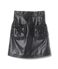 203SK0923フリルポケットレザースカート
