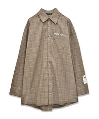 203SH0924<unisex>袖パッチチェックシャツ
