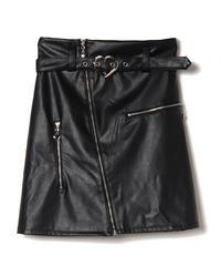 194SK1246 ハートバックルレザースカート