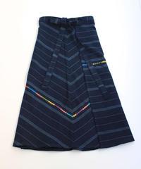 コルテスカートL/インディゴ縞刺繍/中124