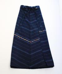 コルテスカートMaxi/インディゴ縞刺繍/中138