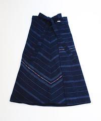 コルテスカートL/インディゴ縞刺繍/小 232