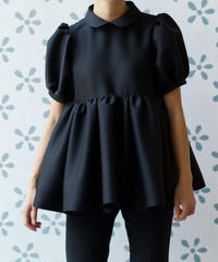 Tuck Gathered Blouse in Black