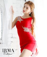 【IRMA】ウエストスリットビジュー付/ワンカラー/タイトOP【91632】