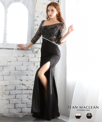 【JEAN MACLEAN】スパンコールレース/袖付き/LongDress【11879】
