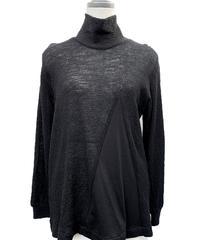 三角 黒ウール 切替セーター