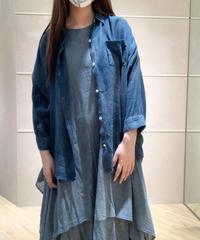 藍墨麻レーヨンドロップシャツ