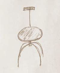 アイアンズチェア  4本足 座面:台形