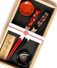 桐箱2膳入【9種から選べる輪島本塗箸】夫婦うるし箸&梅の箸置きセット