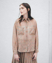ライン幾何プリントシアーシャツ