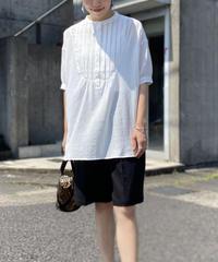 ピンタック スタンドカラーシャツ