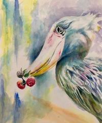 """水彩画 『はしぴろこう』""""shoebill"""""""