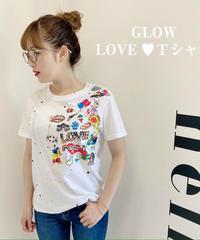 LOVE♥Tシャツ【ホワイト/カーキ】