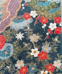 扇に寺院・草葉模様【タックラップスカート】