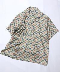 松葉斜め格子扇模様(地紋入り)【M】【ケニシャツ】