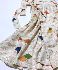 菊の青海波線模様【タックラップスカート】