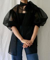dot flocky organdy puff sleeve blouse(black)