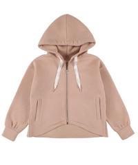 Back flare hoodie:PINK BEIGE