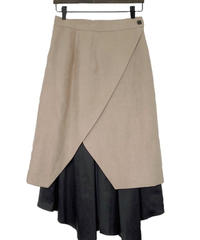 Asymmetry Set Skirt BEIGE×BLACK