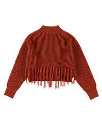 Fringe waffle knit / BORDEAUX ORANGE