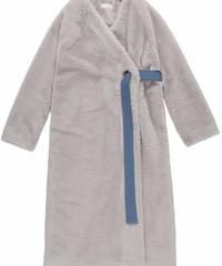 Belt far coat /GREY BLUE