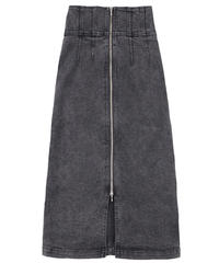 Long denim skirt blackwash