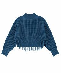 Fringe waffle knit / BLUE