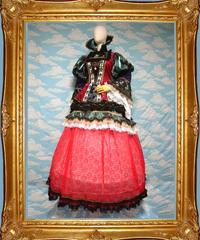 kki.1607 ハートの女王ドレス/付け襟/レーススカート/パニエSet 。