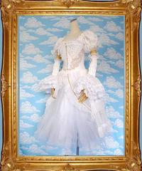 kki.1296 白い鳥バスクコルセットドレス/付け袖、パニエSet 。