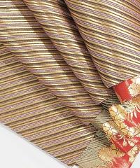 【錦 袋帯】斜段 リバーシブル 全通 振袖など/ゴールド(主) ピンクラメ パープル【超美品】お薦めです