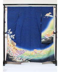 【リサイクル】【振袖】【落款入り】正絹 紋綸子/桜に花鼓/ブルー☆160cm前後の方ベスト【美品】