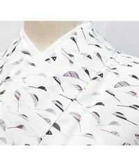 【リサイクル】【小紋 単衣仕立て】上等化繊 洗える/小鳥/誂え寸法 少し「ふくよかな方」OK★159cm前後の方ベスト【超美品】