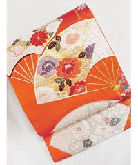 【錦 袋帯】四季花に扇面/朱赤【美品】